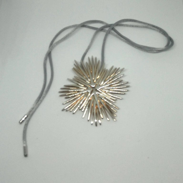 Sterling Silver Michele Oka Doner for Christofle Very Rare Silver Brooch Pendant Palmaceae Serie For Sale