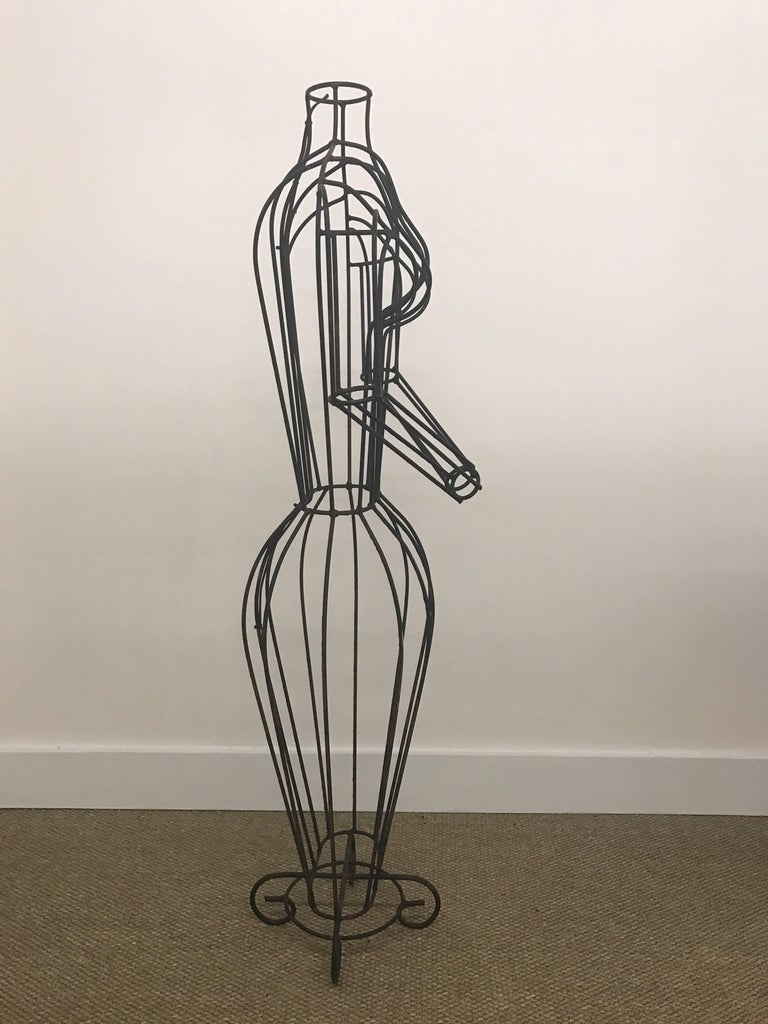 Wire Dress Form For Sale | Michele Rizzi Figural Wire Sculpture Dress Form Art Made In Italy At