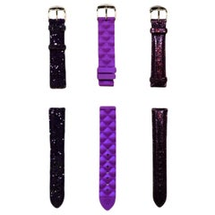 Michele Set of Three Purple Woman's Thin Watch 18MM Straps
