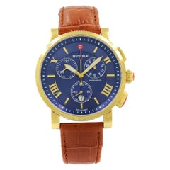 Michele Sport Sail Chronograph Blue Dial Gold Tone Women's Watch MW01K00A9019