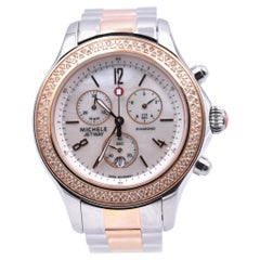 Michele Stainless Steel and Rose Diamond Jetway Watch