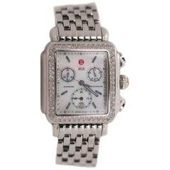 Michele Stainless Steel Deco Diamond Wrist Watch