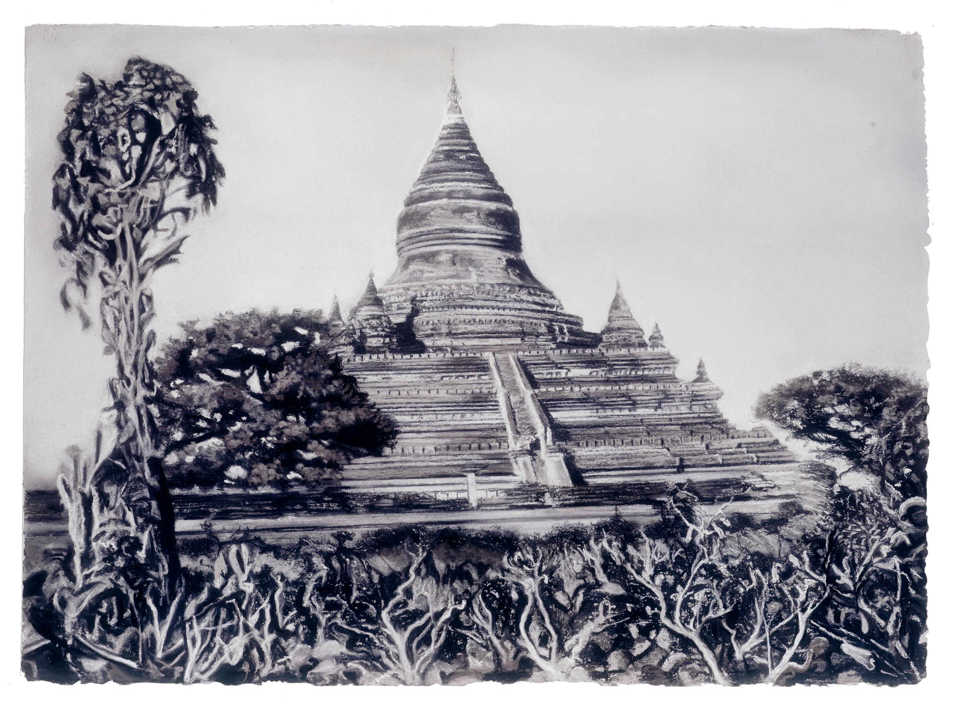 Temple by Michele Zalopany, Burmese temple charcoal and pastel landscape