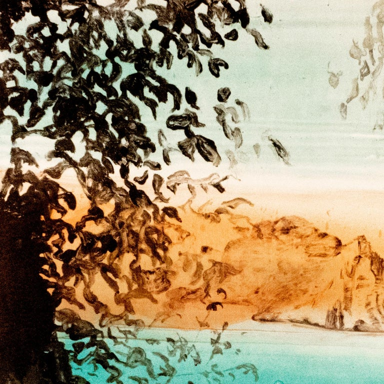 This large-scale, colorful ocean landscape monotype gives the viewer a hidden vantage point: through the dark silhouette of tangled vines can be seen a placid, turquoise sea lapping against the golden orange shores of an island or outcropping.