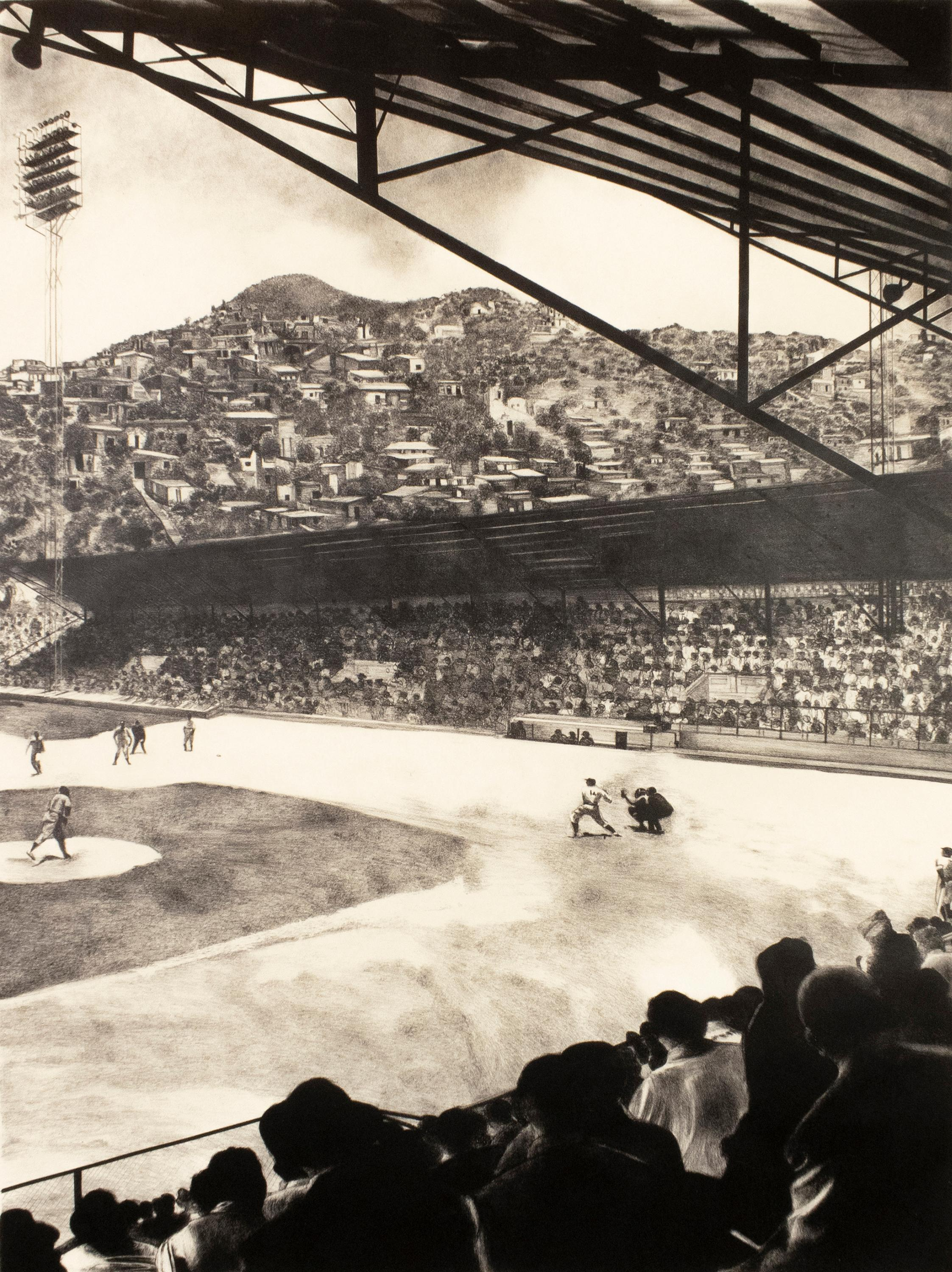 Baseball Game: realist large-scale black and white drawing of sports game