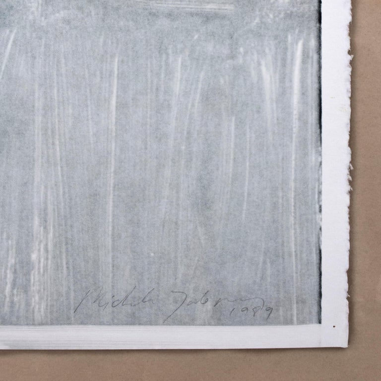 Bridge: black and white minimalist architectural monotype painting  - Print by Michele Zalopany
