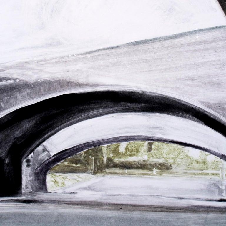 Bridge: black and white minimalist architectural monotype painting  - Gray Landscape Print by Michele Zalopany