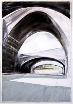 Bridge: black and white minimalist architectural monotype painting