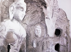 Buddha: Large scale minimalist Indian black and white zen cliff landscape