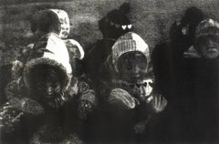 Children: black and white drawing of Christmas holiday winter scene
