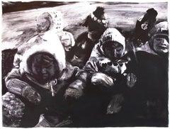 Children (Monotype): black and white winter scene with children