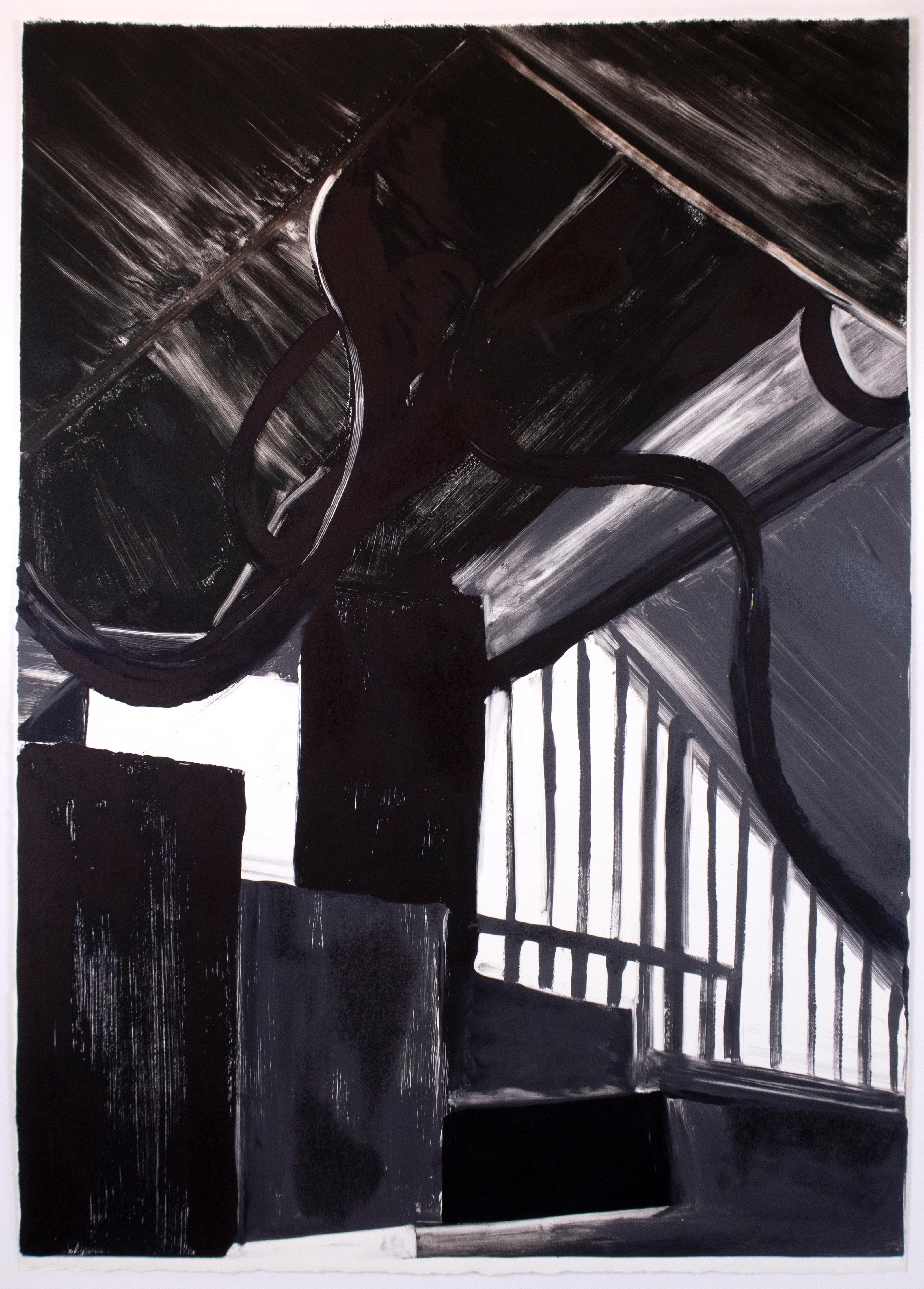 Interior I black, white large Monotype painting of modern minimalist interior