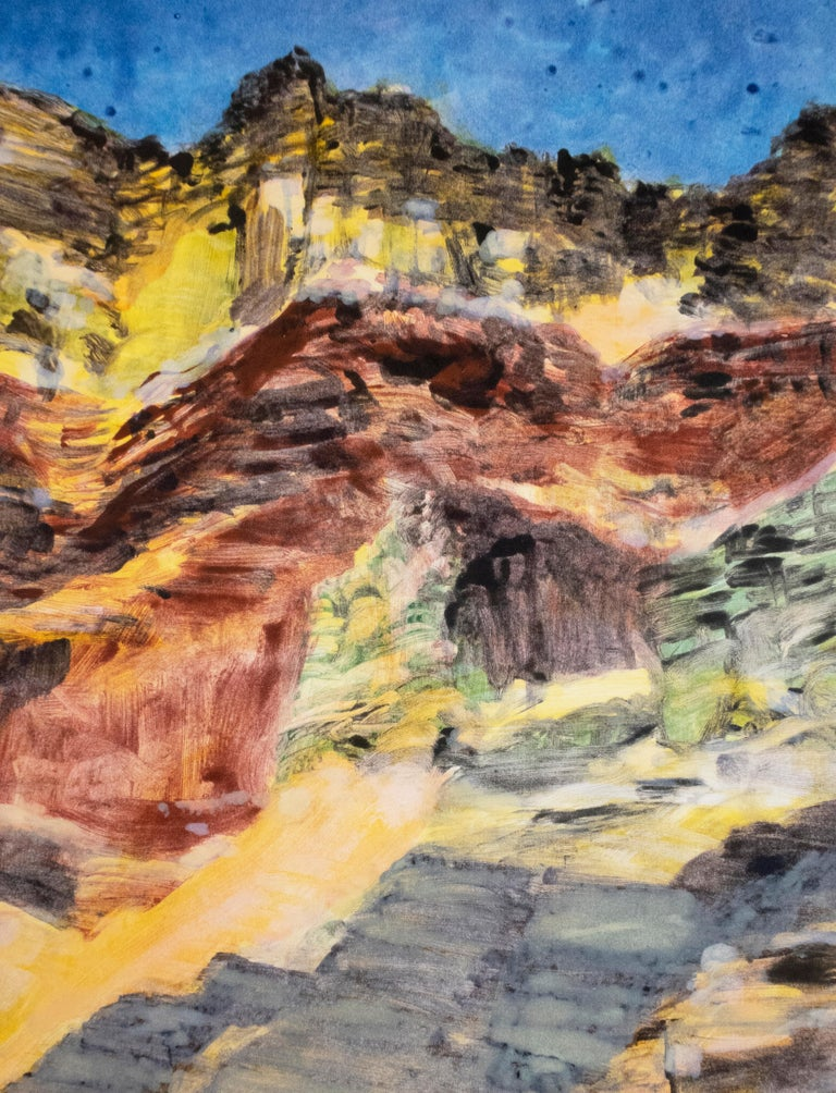On the Map: Large scale color monotype, Western mountain landscape with blue sky - Print by Michele Zalopany