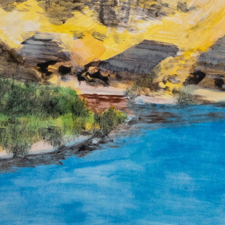 On the Map: Large scale color monotype, Western mountain landscape with blue sky - Contemporary Print by Michele Zalopany