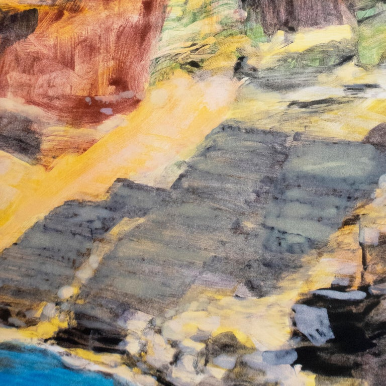 On the Map: Large scale color monotype, Western mountain landscape with blue sky - Gray Landscape Print by Michele Zalopany