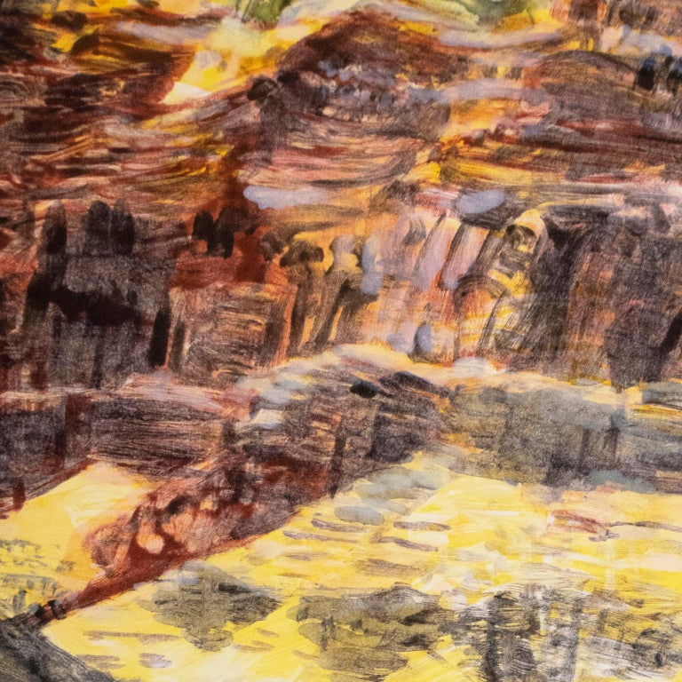 Large scale color monotype of a Western landscape with sapphire blue sky, green trees, river, yellow and orange hills, and red clay cliffs, to enliven minimalist, modern, and contemporary living spaces.   Paper 52 x 40  in.  / 132 x 101 cm.