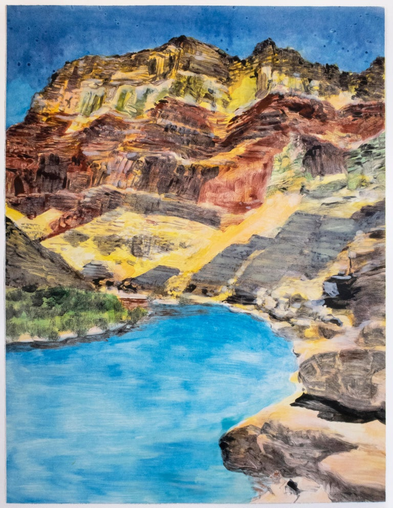 Michele Zalopany Landscape Print - On the Map: Large scale color monotype, Western mountain landscape with blue sky