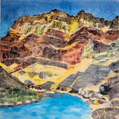 On the Map: Large scale color monotype, Western mountain landscape with blue sky