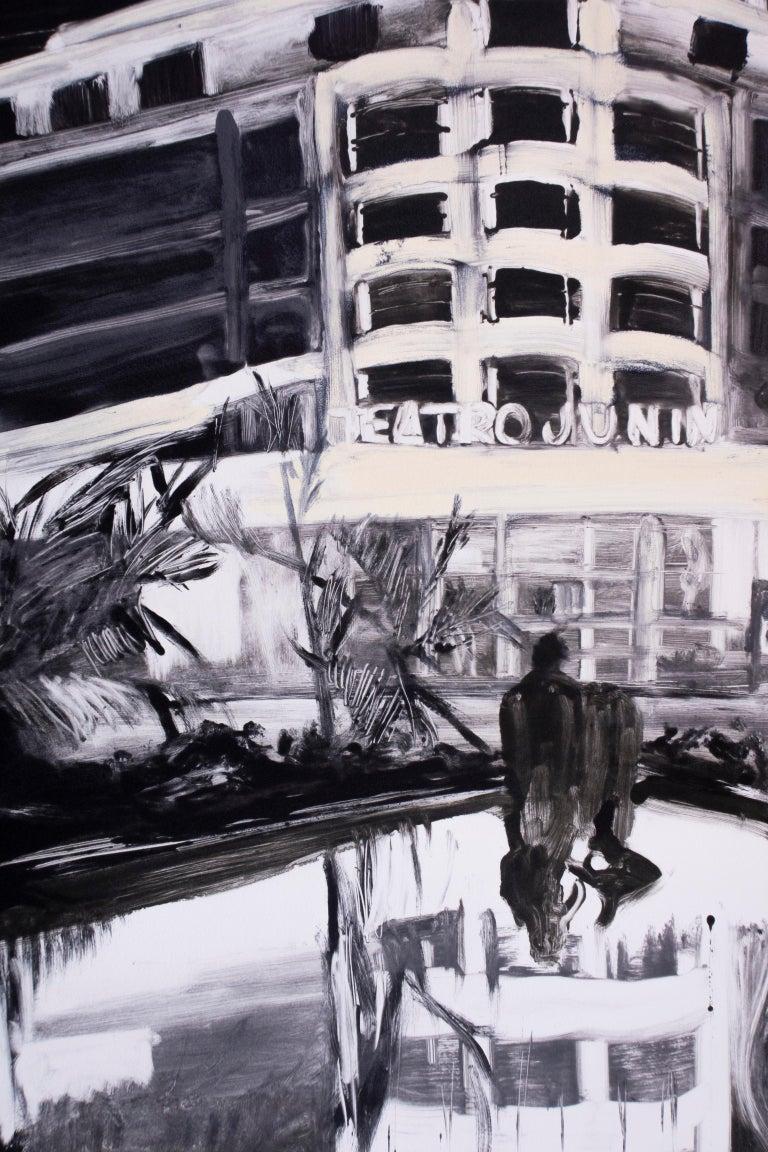 Teatro Junín, Caracas, Venezuela: black white city neon lights night landscape - Black Landscape Print by Michele Zalopany