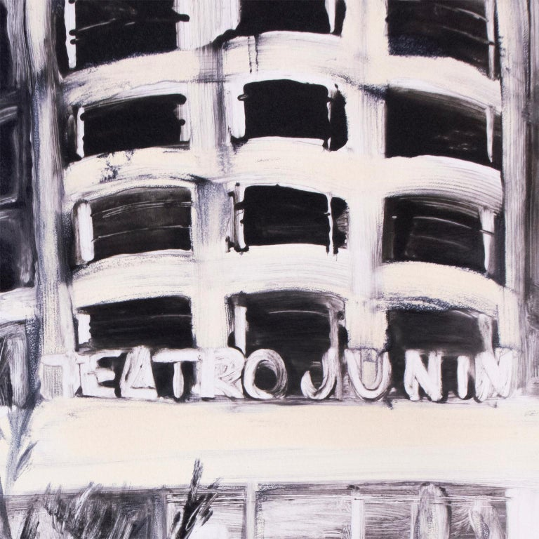 Striking, large, black and white city landscape in South America at night. A couple strolls towards the neon lights of a vintage 1950's theater, reflected in the wet sidewalk, with palm trees and tropical plants. Hand painted monotype ink creates a