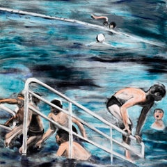 Temptation to Exist: waterscape Monotype painting of swimmers city landscape