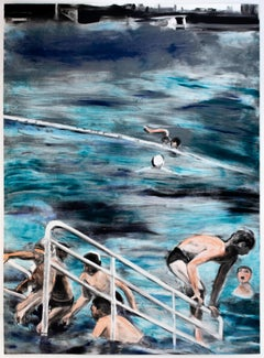 Temptation to Exist: bright color Monotype painting of swimmers, city landscape
