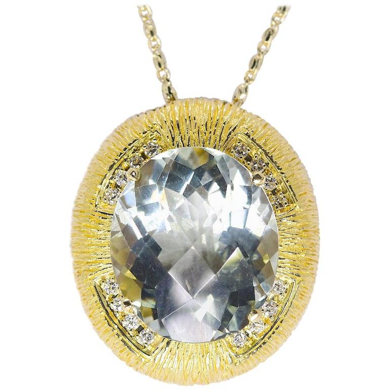 Mic E Abala Lime Quartz And Diamond In 18 Karat Yellow Gold Pendant 7 1 Grams For Sale