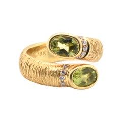 Michelle Albala 18 Karat Yellow Gold Peridot and Diamond Textured Bypass Ring