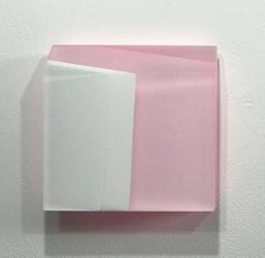 Untitled #6 pink and white- abstract modern translucent mural wall sculpture