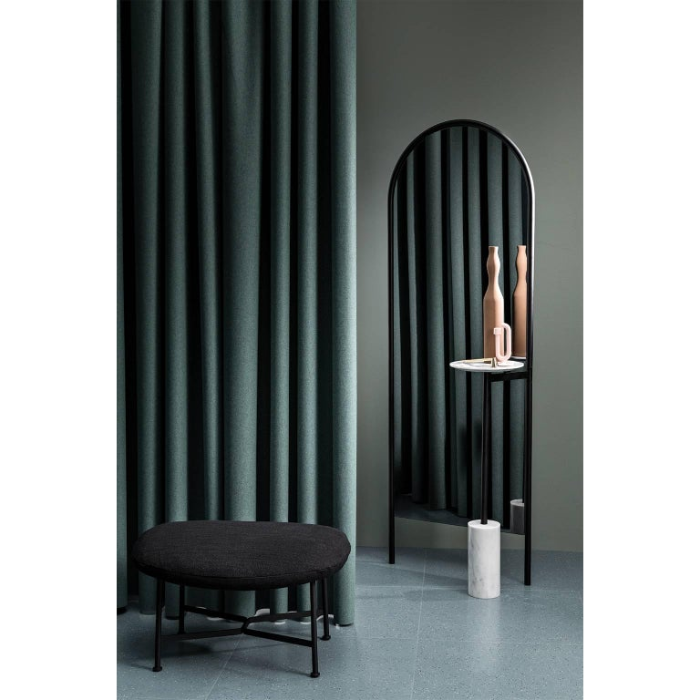 Modern Michelle Floor Mirror with Tubular Steel Frame, Smoked Mirror and Marble For Sale