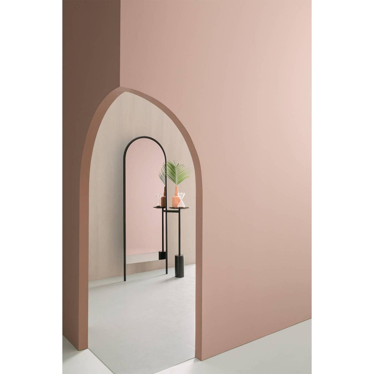 Italian Michelle Floor Mirror with Tubular Steel Frame, Smoked Mirror and Marble For Sale