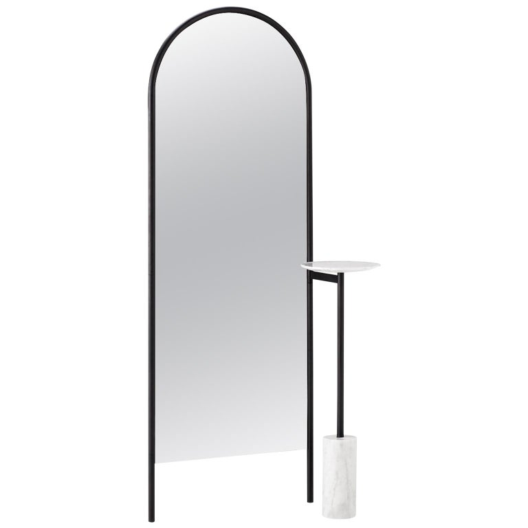 Michelle Floor Mirror with Tubular Steel Frame, Smoked Mirror and Marble For Sale