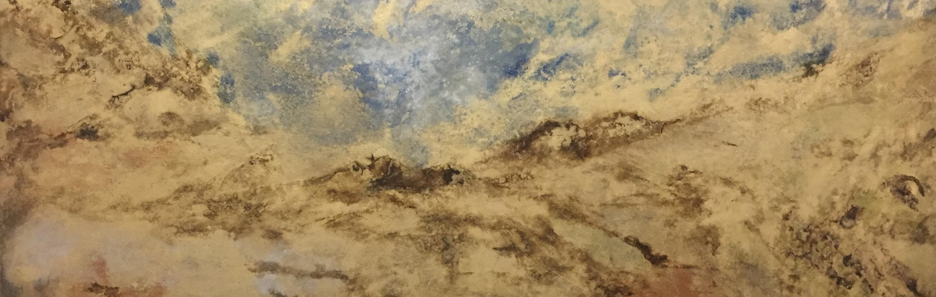 Ecotone, Cloudscape, Sky, Oil, Gold, Blue, Meditative, Gold Leaf, Painting