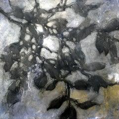 Nebular Vines 9432, botanical, Nature artwork, Farmhouse, Silver