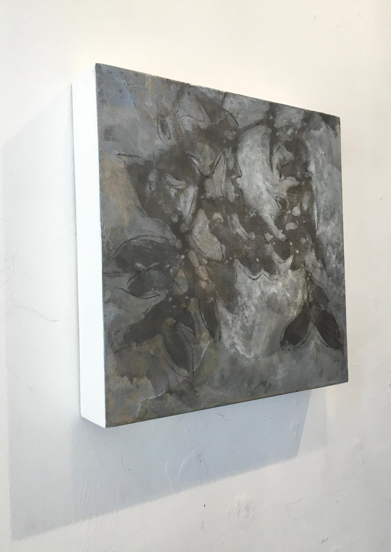 Nebular Vines 9441, botanical, Nature, Vines, Leaves, Silver, Wood Panel - Contemporary Painting by Michelle Gagliano