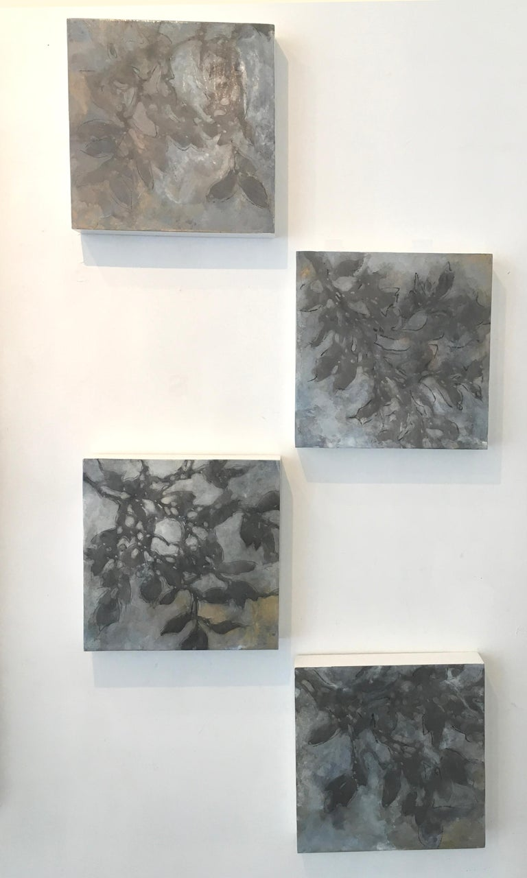 Nebular Vines is a botanical, oil painting on wood panel.  It is 12x12.  This nature inspired Nebular Vines series works as individual artwork or as a series.  Each painting is filled with silver, brown, gray and some gold tones.  Michelle