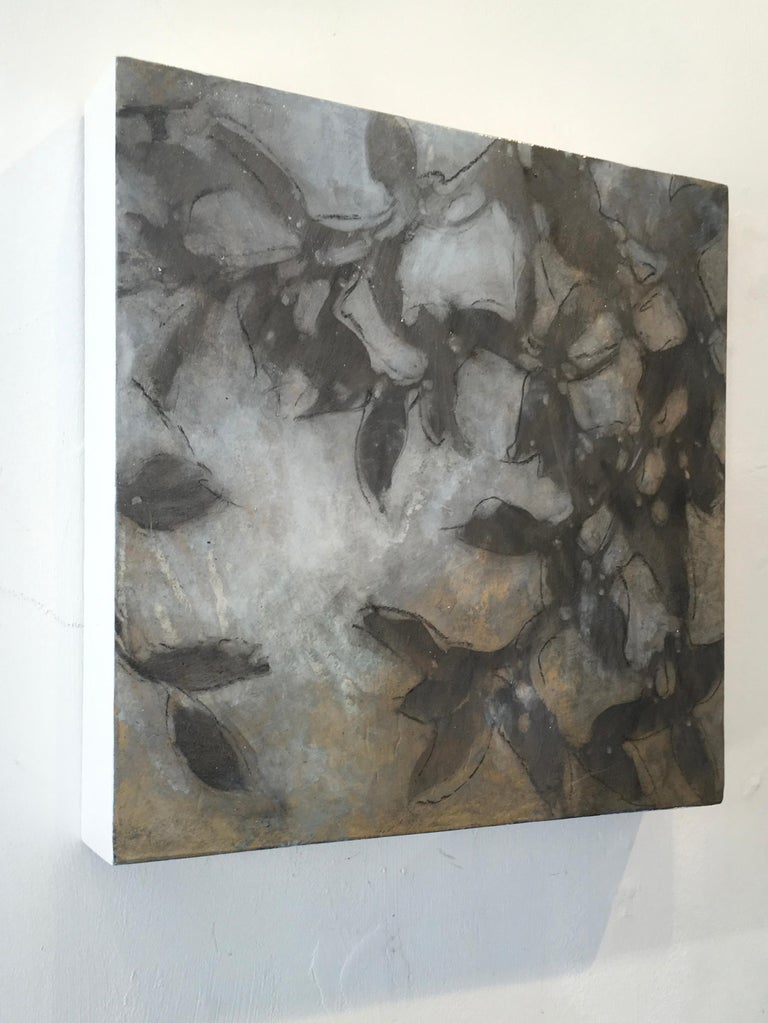 Nebular Vines 9456, botanical, Nature, Vines, Silver, Leaves, Wood Panel,  - Painting by Michelle Gagliano