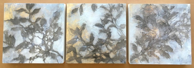 Nebular Vines 9456, botanical, Nature, Vines, Silver, Leaves, Wood Panel,  - Contemporary Painting by Michelle Gagliano