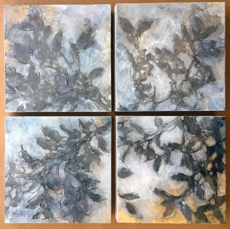 Nebular Vines 9456, botanical, Nature, Vines, Silver, Leaves, Wood Panel,  - Gray Landscape Painting by Michelle Gagliano