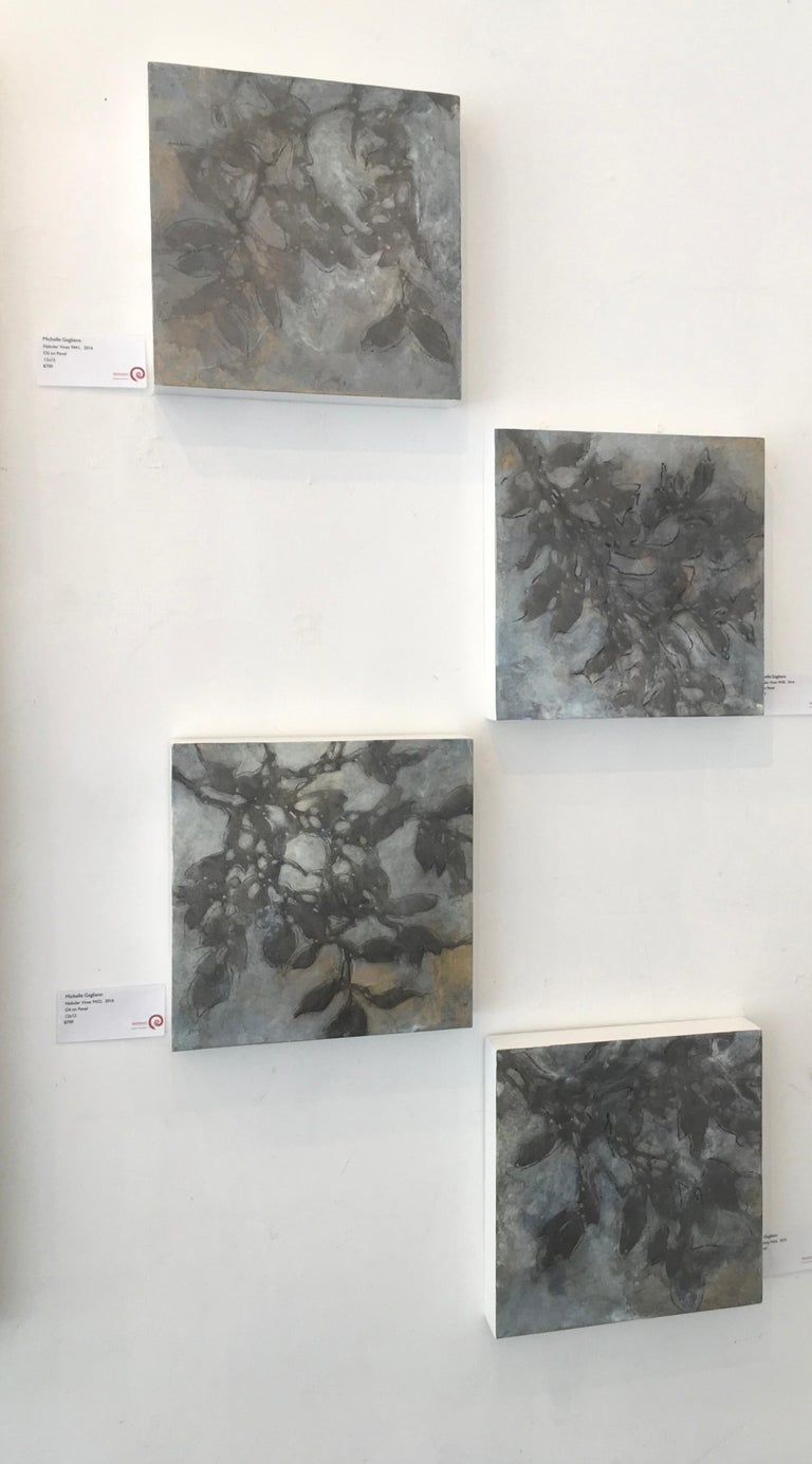 Nebular Vines 9456, botanical, Nature, Vines, Silver, Leaves, Wood Panel,  For Sale 1