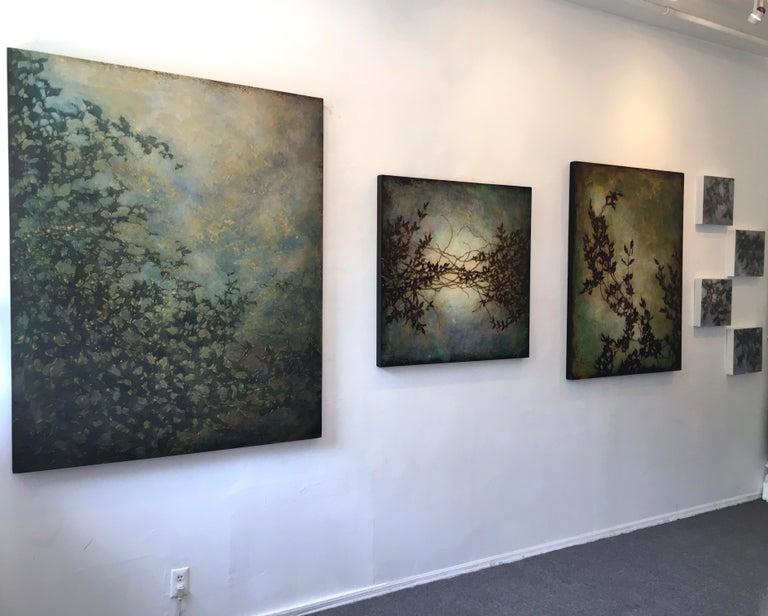 Nebular Vines 9456, botanical, Nature, Vines, Silver, Leaves, Wood Panel,  For Sale 2