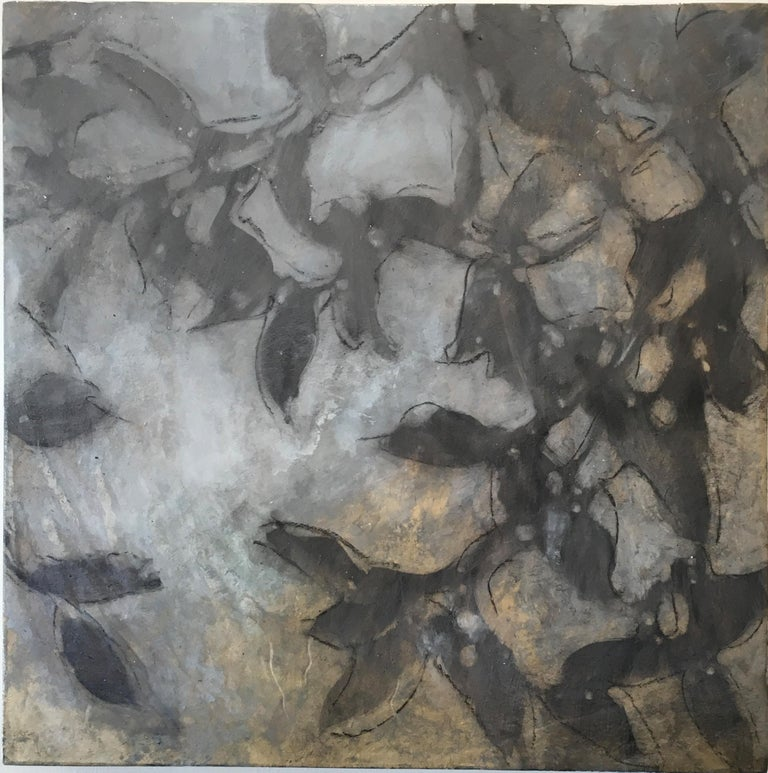 Michelle Gagliano Landscape Painting - Nebular Vines 9456, botanical, Nature, Vines, Silver, Leaves, Wood Panel,