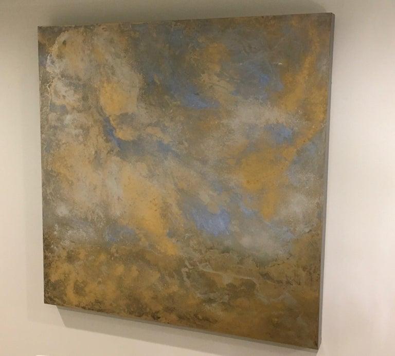 Rhosen, Cloudscape, Oil, Gold, Blue, Meditative, Oil Glazes, Gold Leaf, Painting For Sale 1