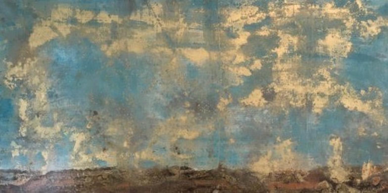 Scraped Landscape, Sky, Oil, Gold, Blue, Landscape, Gold Leaf, Painting