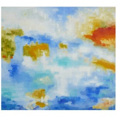 """Michelle Hénault Modern Abstract Painting """"Lac en Août/The August Lake"""" 2018"""