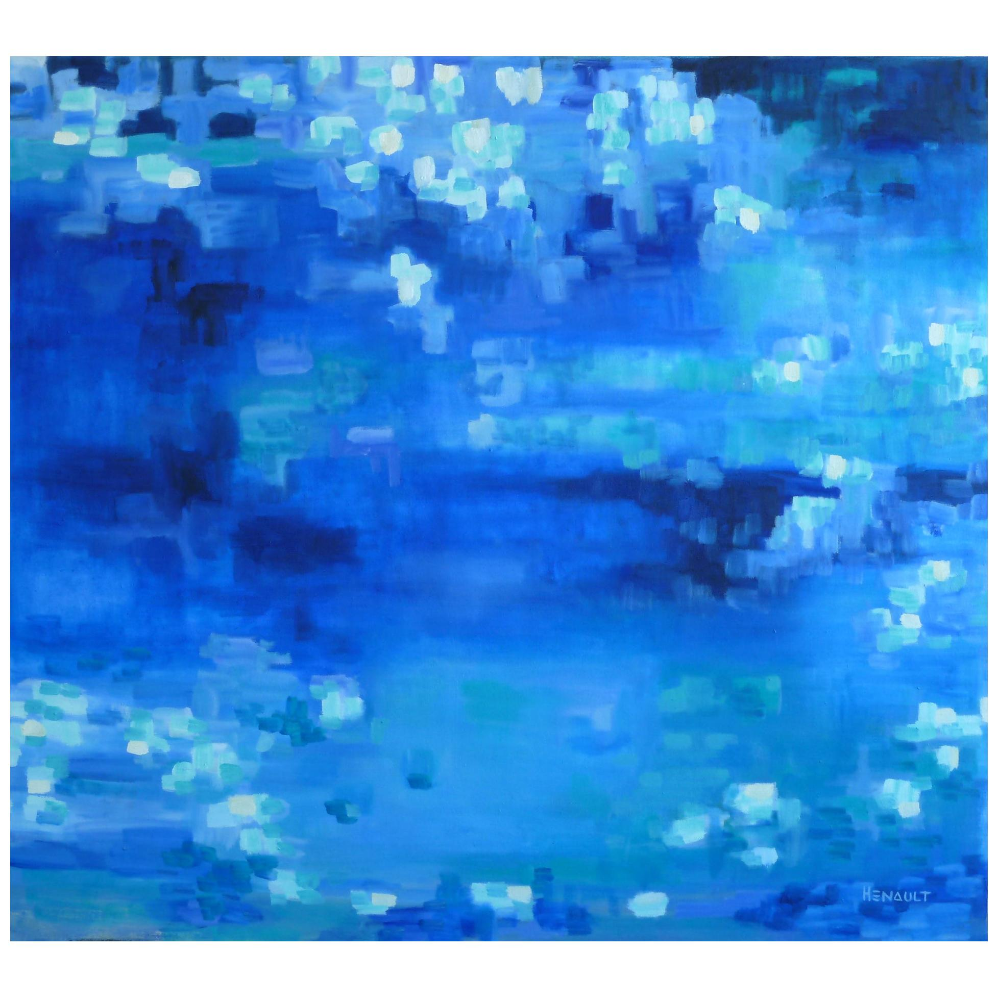 """Michelle Hénault Modern Abstract Painting """"Le Grand Bleu/The Big Blue"""", 2015"""