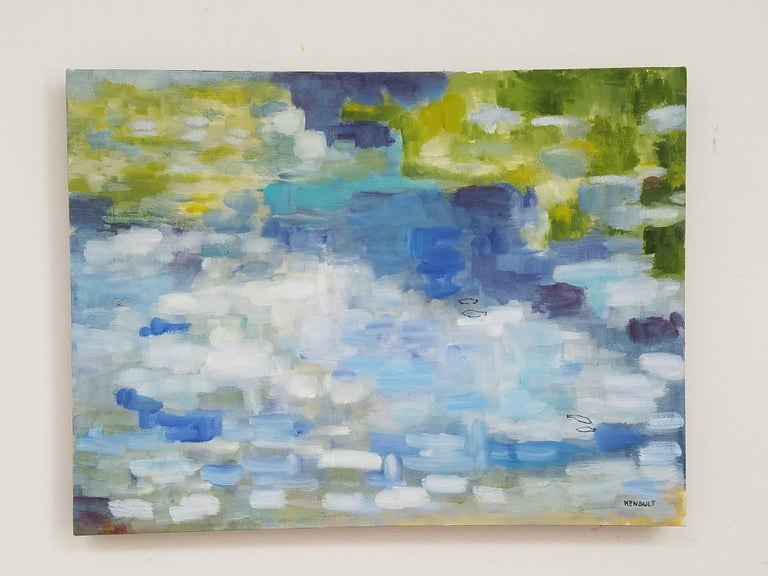 """Modern abstract, oil on canvas painting; titled """"Les Poissons 2/The Fish 2"""" by Michelle Hénault, a conceptual fine artist. Signed on front bottom right, also, signed, dated and titled on back; measuring approx. 24"""