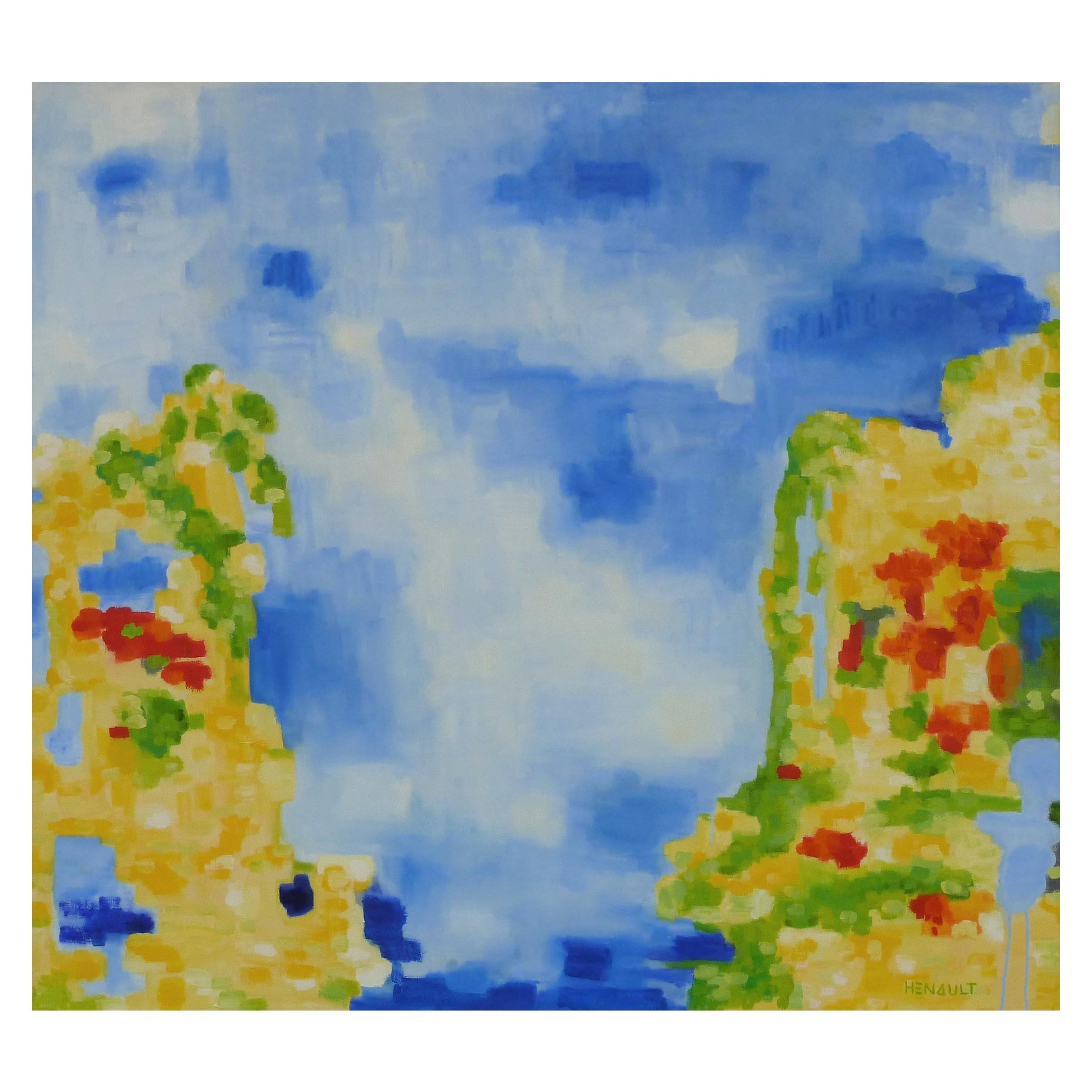 "Michelle Hénault Modern Abstract Painting ""Malte/Malta "", 2016"