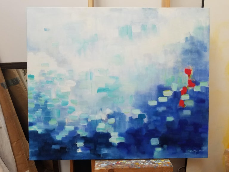 """Modern abstract, oil on canvas painting, titled """"Summertime III"""" by Michelle Hénault, a conceptual fine artist. Signed on front bottom right, also, signed, dated and titled on back; measuring approximate 30"""
