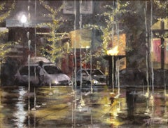 Gateway Winter Night Fountains, Painting, Acrylic on Canvas